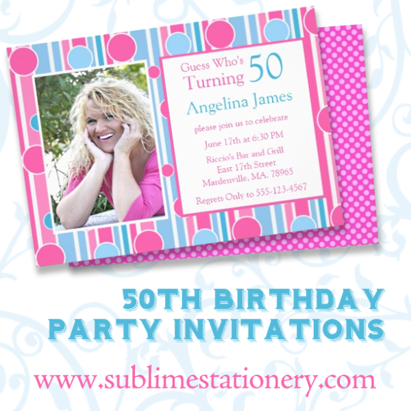 50th Birthday Party Invitations Retro Dots