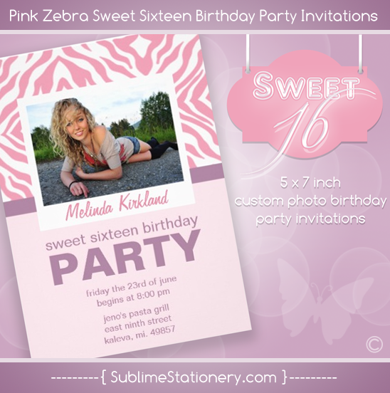 Pink Zebra Sweet Sixteen Birthday Party Invitation